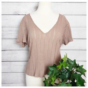PST by Project Social T Ribbed Tan V Neck Top S